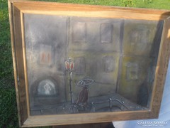 Jelzett ,ami nem olvasható komor  régi festmény olaj vászon