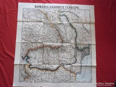 Románia háborús térképe 75 cm x 72 cm antik térkép régi