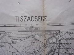 Tiszacsege régi térképe, 60cm x 51 cm antik térkép