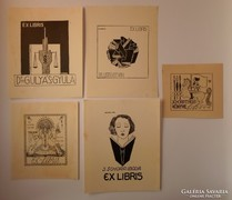 Ex libris - Schorr Tibor, 5db