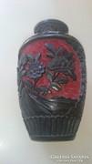 """Kínai fekete """"cinóber""""  váza"""
