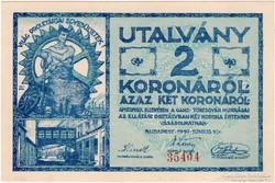 GANZ TÖRZSGYÁR, 2 KORONA, 1919 - hajtatlan - Sorszámos!