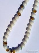 925 ezüst valódi korall és porcelán meseszép nyaklánc  virág motívumos kerámia gyöngyökkel