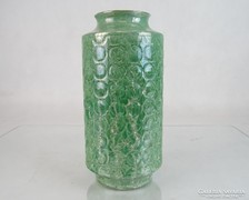 0M069 Hollóházi porcelán zöld pikkelyes váza 25 cm