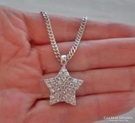 Szépséges régi ezüst csillagmedál láncon