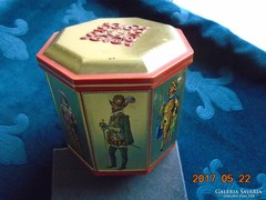 Színes középkori lovagokkal-Weisz német ón mézeskalács tároló-11x12 cm
