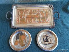 Egyiptomi réztálca, faliképek