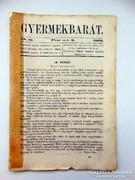 Régi újság Gyermekbarát 1862 október 2