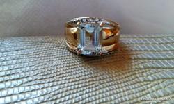 Gyémánt-akvamarinnal Arany gyűrű.ÚJ