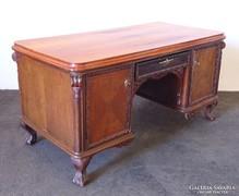 0M282 Régi oroszlánlábas nagyméretű íróasztal