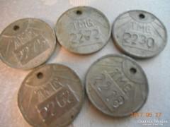 5 db Alumínium Számozott Billéta