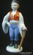 Herendi népviseletes fiu porcelán szobor