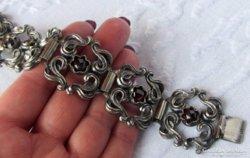 AKCIÓ! Csodálatos, régi ezüst karperec gránátokkal - 62,3 gr