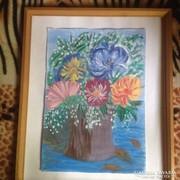 Kortárs festő akvarell festménye: Anyák napi csokor