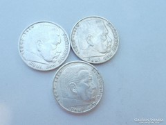 3 darab ezüst  német 1938 5 márka