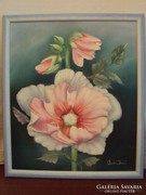 Czakó Dezső (kortárs festő) : Mályvarózsa (a nőiség virága)-eredeti olajkép.