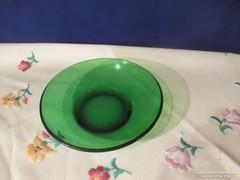 Zöld  üveg kínáló tál  Á066