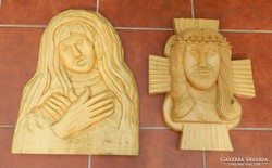 Extra large jesus and virgin marble wall-wood carved