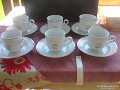 Hollóházi Daube Egberts 6 személyes porcelán  kávés készlet