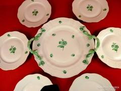 Herendi süteményes készlet zöld mintás