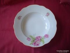 Rózsás Zsolnay tányér mélytányér