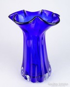 0M697 Művészi öblös kék üveg váza 27.5 cm