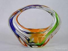 0M791 Fújtüveg BOHEMIA művészi üveg kosár 17 cm