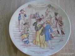 Jelenetes Sarreguemines porcelán fali tányér