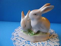 Hollóházi porcelán nyuszi pár, nyulak