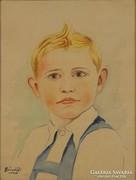 0M582 Bánnátfi jelzéssel : Kisfiú portré 1940