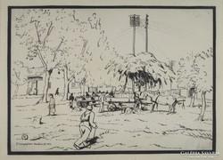 """0M584 Jelzett grafika : """"Dinnyepiac"""" 1953"""