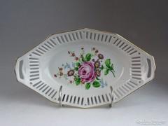 0M593 Régi jelzett áttört porcelán kosár