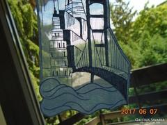 Hímzett tüll-ruha betét-San Francisco Golden Gate-17 x 9 cm