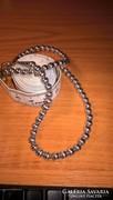 Egyedi sterling ezüst gömbökből álló gyöngysor stabil láncon