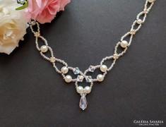 Swarovski kristály nyaklánc esküvői igazgyöngy ékszer ezüst