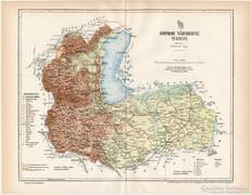 Sopron vármegye térkép 1894, XIX. századi, eredeti, megye