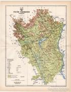 Fejér vármegye térkép 1896, XIX. századi, eredeti, megye