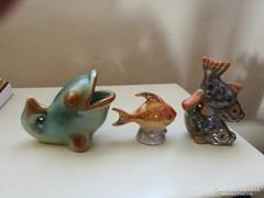 Három darab hibátlan kerámia hal figura