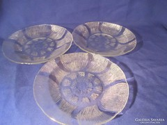 3 db üveg süteményes tányér A066