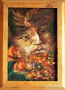 Viragok kozt   olaj festmeny