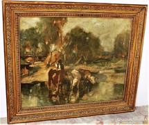 Udvary Pál (1900-1987) Itatás 83x70cm eredeti !!