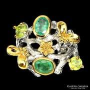 Termeszetes Smaragd Peridot Otvos Egyedi 925 Ezust Gyuru