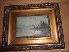 E. Tutyi ? jelzéssel: Vízparti fák, régi olaj-fa tájkép 1919