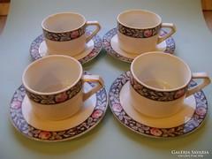 Antik rózsás teáscsészék tányérral