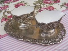 Különleges, ritka antik ezüstözött kávé, tea szervíz készlet