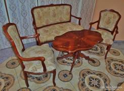 Szépséges antik szalongarnitúra asztal,kanapé,2db fotel
