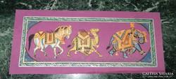 Indiai selyemkép festmény : Cirkuszi állatok