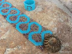 Türkiz bronz gyöngy ékszer szett: karkötő és gyűrű Peyote antik bronz gomb