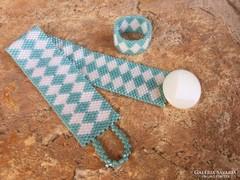 Kék fehér rombusz minta gyöngy ékszerszett gyűrű karkötő Peyote