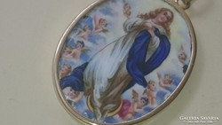 Szűz Mária porcelán medál antik, régi, arany 14 karátos keretben